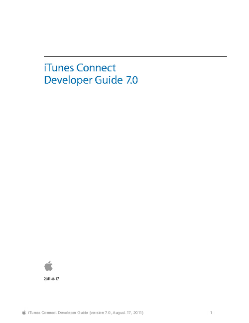 iTunes Connect- Developper Guide