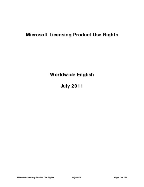 Microsoft Licensing Product Use Rights - July 2011
