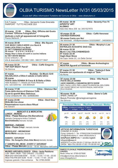 Newsletter Olbiaturismo IV/31 05032015