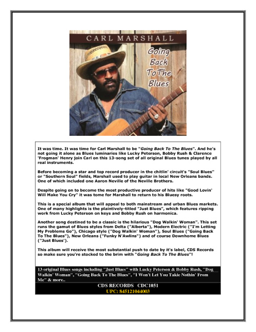 """Carl Marshall to be """"Going Back To The Blues""""."""