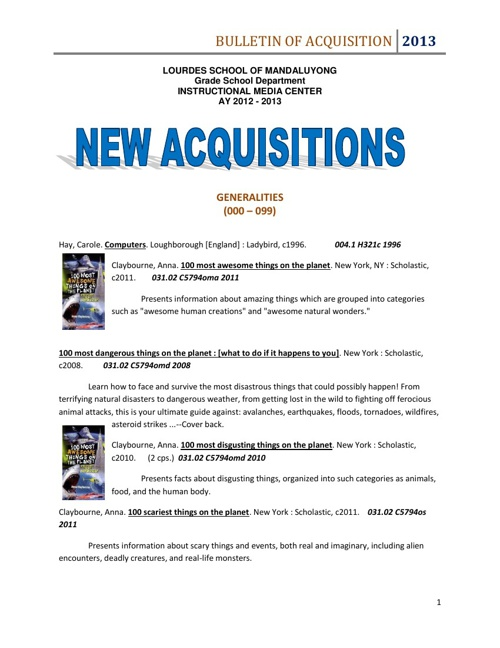GS Bulletin of Acquisitions AY 2012-2013