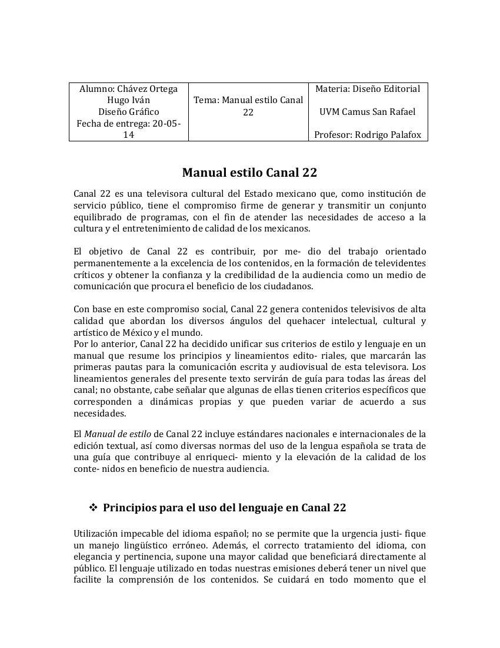 hugo Manual estilo Canal 22