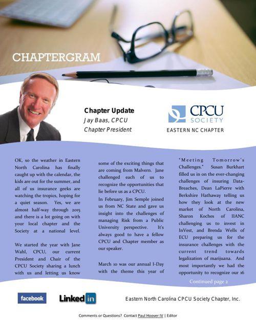 Summer 2015 Eastern NC CPCU Newsletter