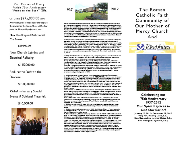 """Our Mother of Mercy Parish 75th Anniversary """"Front to the Back"""""""