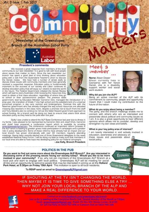Greenslopes Branch Newsletter No.2