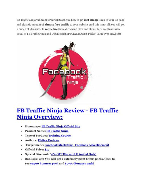 FB traffic ninja Review and (Free) GIANT $14,600 BONUSES