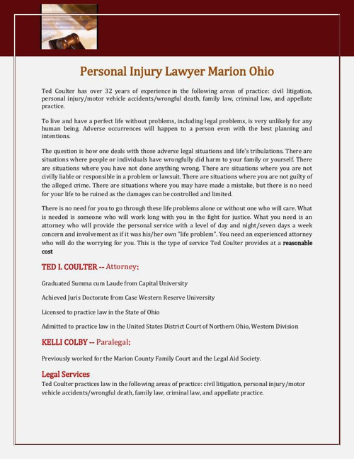 Personal Injury Lawyer Marion Ohio