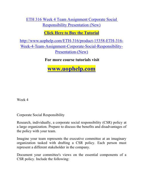 ETH 316 Week 4 Team Assignment Corporate Social Responsibility P