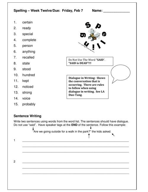 Spelling – Week Twelve