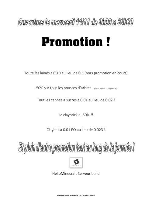 Promotion | Ouverture le 11/11