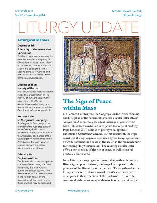 Liturgy Update December 2014