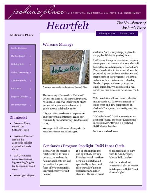 Heartfelt - Joshua's Place Newsletter February, 2012