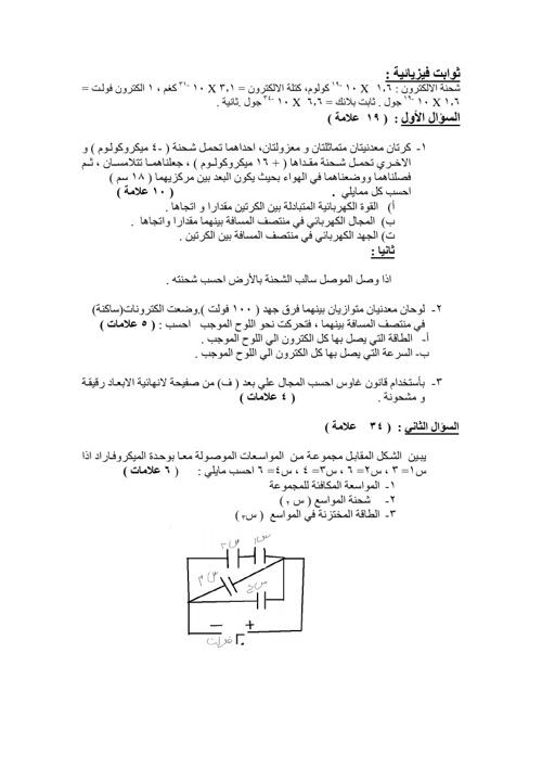 امتحان فيزياء توجيهي اردني
