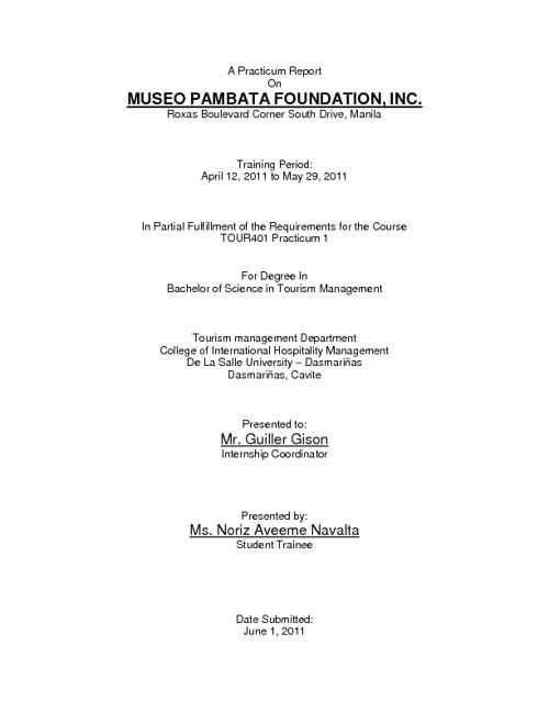 MUSEO PAMBATA- PRACTICUM 1 REPORT