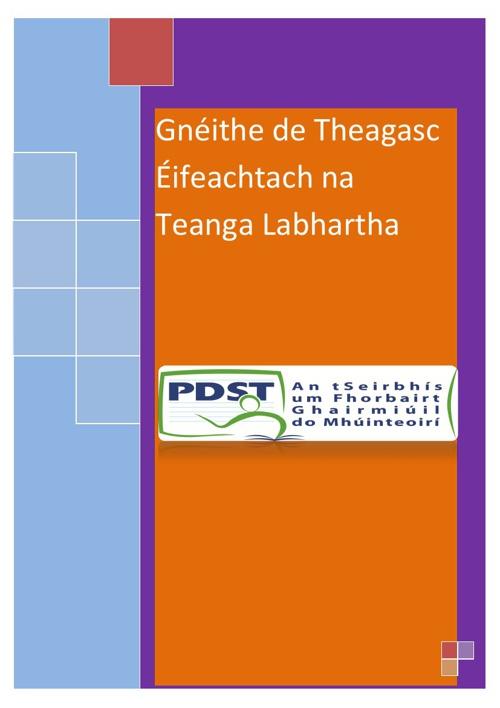 Gnéithe de Theagasc Éifeachtach na Teanga Labhartha