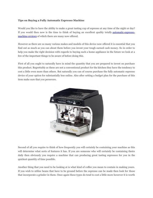 Tips on Buying a Fully Automatic Espresso Machine