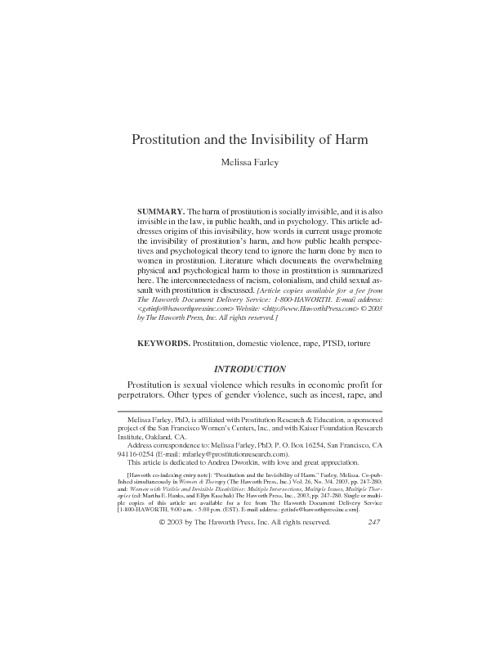 Prostitution and the Invisibility of Harm