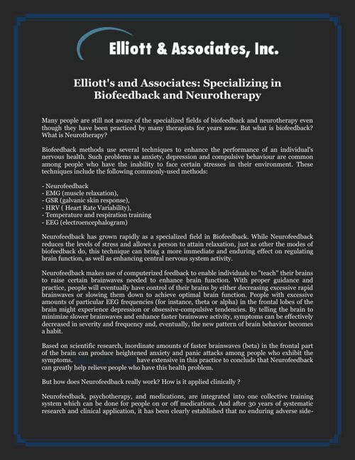 Elliott's and Associates  Specializing in Biofeedback and Neurot