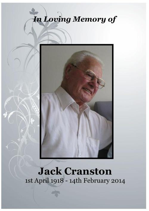 4 Order of Service for Jack Cranston