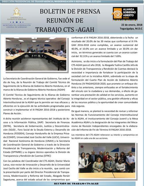 BOLETIN INFORMATIVO REUNION CTS AGAH 22 DE ENERO