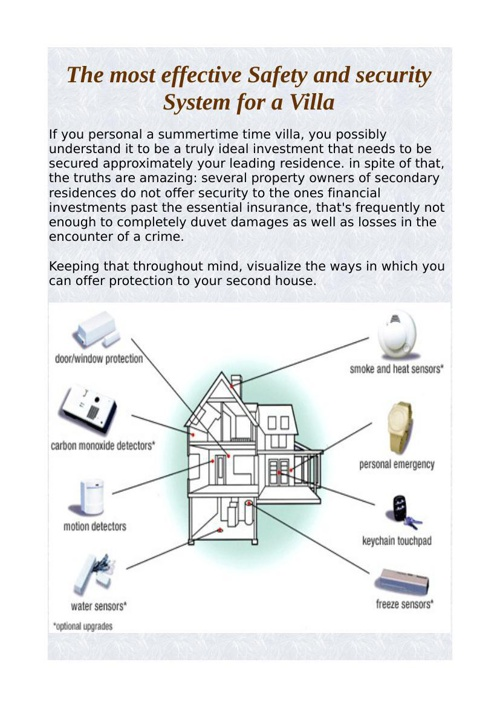The most effective Safety and security System for a Villa