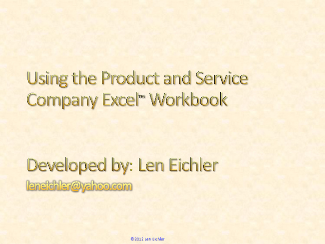 Using the Product-Service Company Workbook