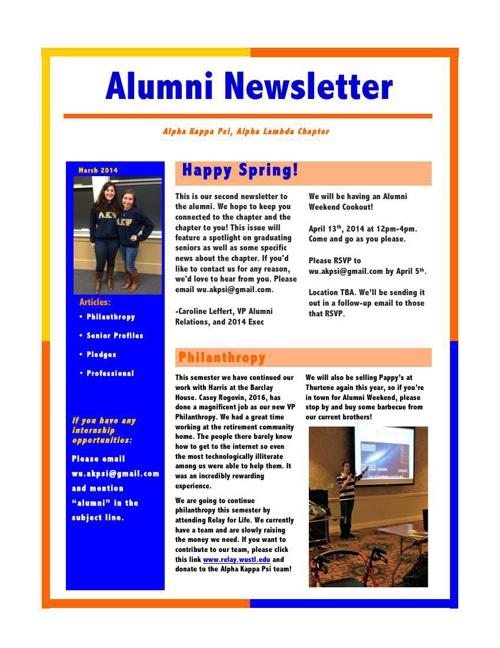 Alumni Newsletter 2014