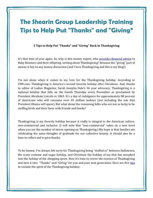 "The Shearin Group Leadership Training Tips to Help Put ""Thanks"""