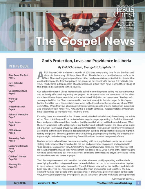 Gospel News July 2016
