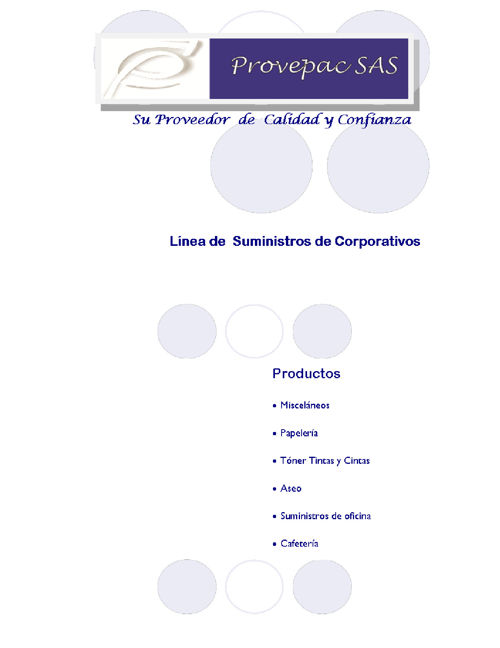 CATALOGO DE SUMINISTROS INSTITUCIONALES PROVEPAC SAS