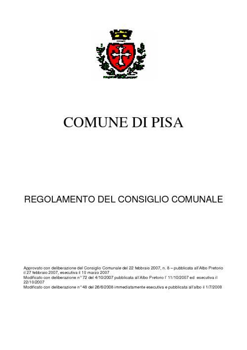 Regolamento del Consiglio Comunale di Pisa