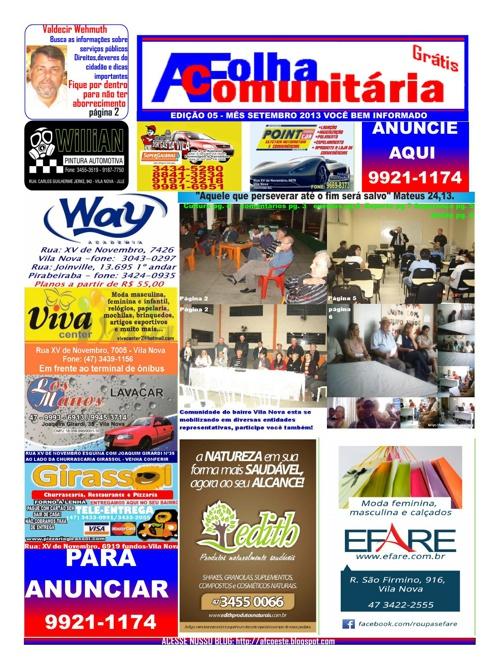 Edição 5 mês de setembro de 2013 A Folha Comunitária