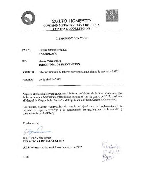 Dirección de Prevención, Informe de Labores, Marzo 2011