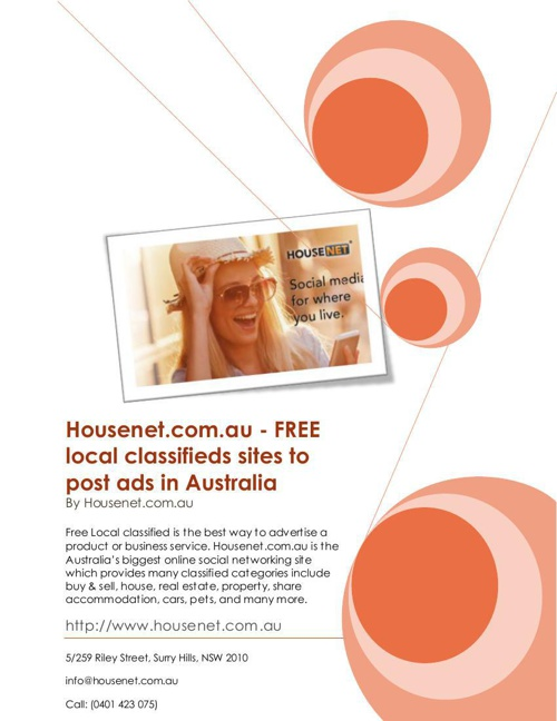 Housenet.com.au - FREE local classifieds sites to post ads in Au