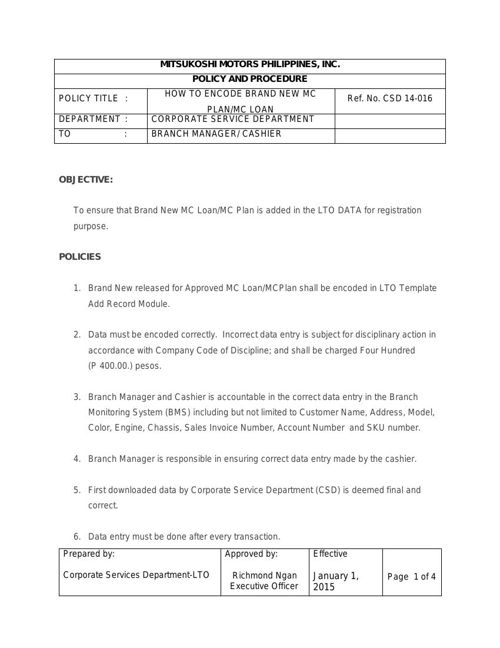 CSD 14-016 How to Encode BRAND NEW mc plan.mc loan(ok)