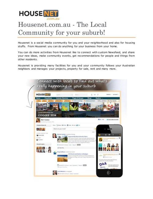 Housenet.com.au - The Local Community for your suburb!