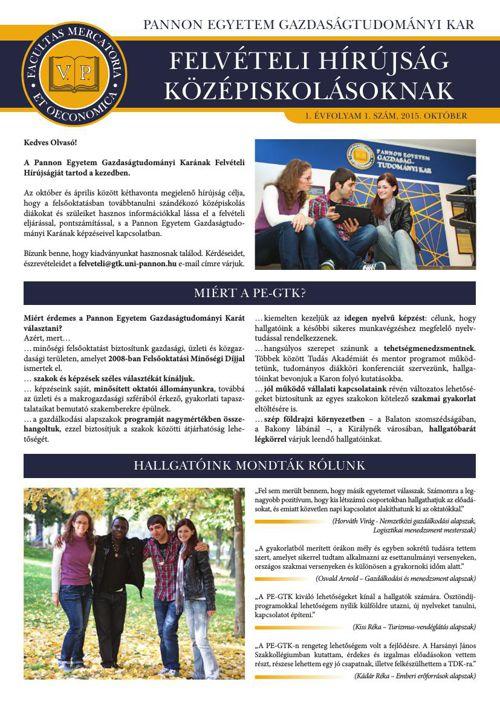 PE-GTK Felvételi Hírújság Középiskolásoknak 2015. október