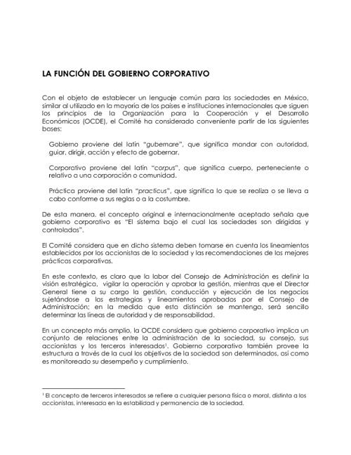 FUNCIÓN DE GOBIERNO CORPORATIVO