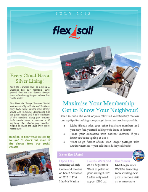 FlexiSail Summer Newsletter