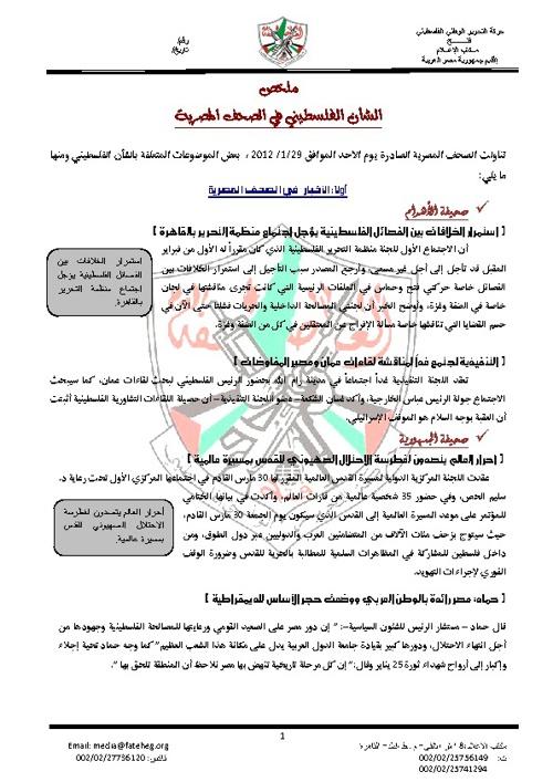 ملخص الشأن الفلسطيني في الصحف المصرية
