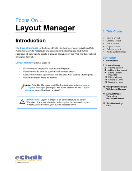 Using eChalk Layout Manager
