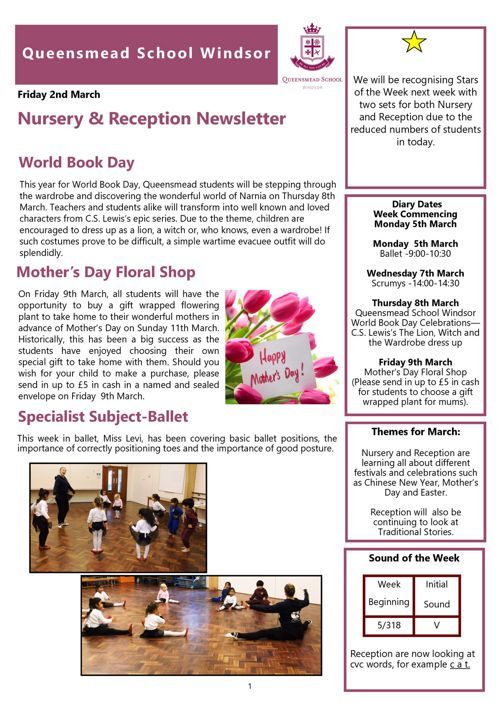 Nursery and Reception News 2nd March 2018