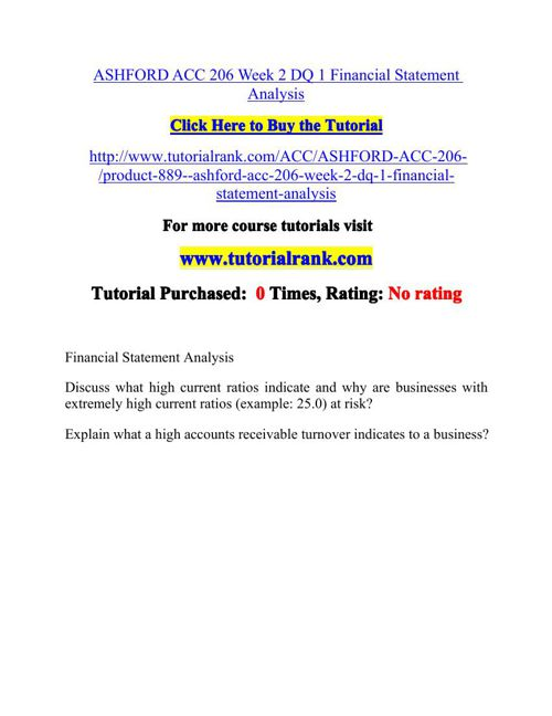 ASHFORD ACC 206 Week 2 DQ 1 Financial Statement Analysis