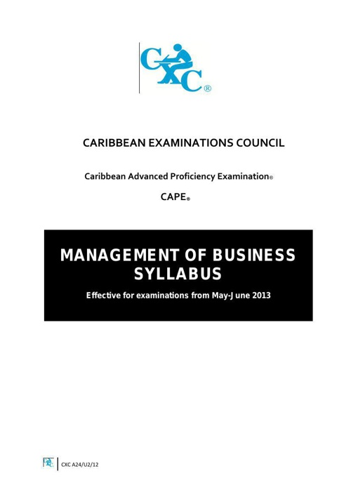 CAPE MOB syllabus