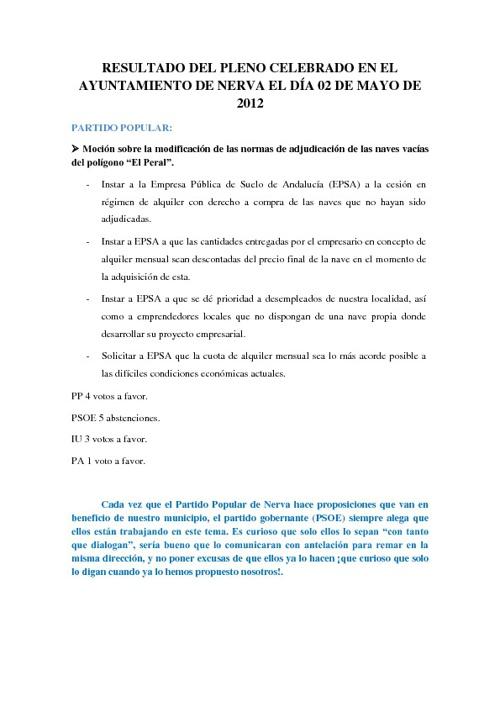 Resultado del Pleno celebrado el 02/05/2012