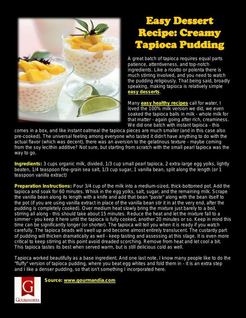 Easy Dessert Recipe: Creamy Tapioca Pudding