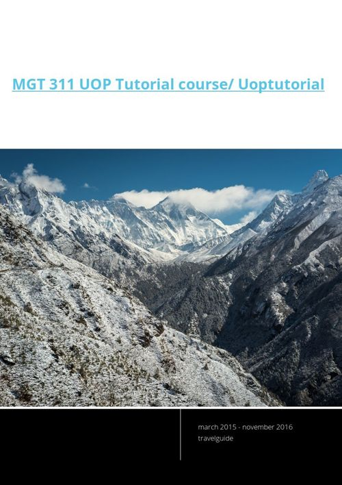 MGT 311 UOP Tutorial course/ Uoptutorial
