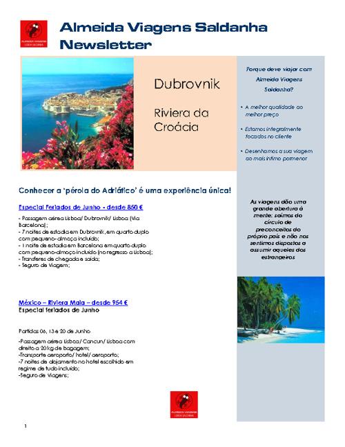 Newsletter Almeida Viagens Saldanha