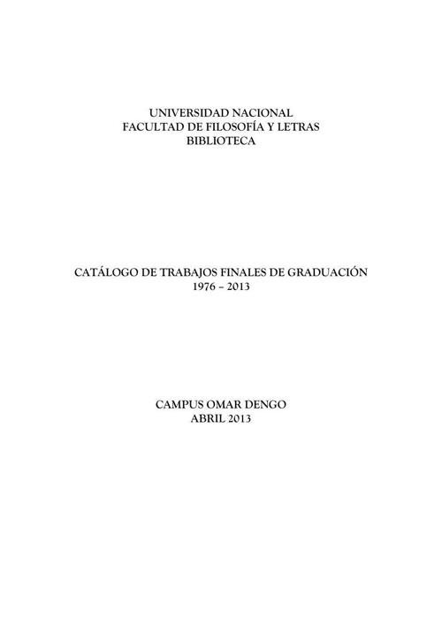 CATÁLOGO TESIS FACULTAD FILOSOFIA 2013
