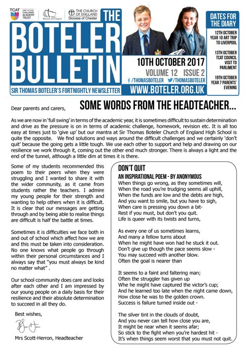 Boteler Bulletin 10th October 2017